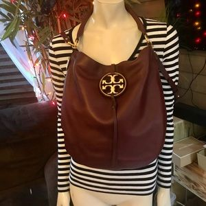 Tory Burch Leather Miller Slouchy Crossbody Hobo